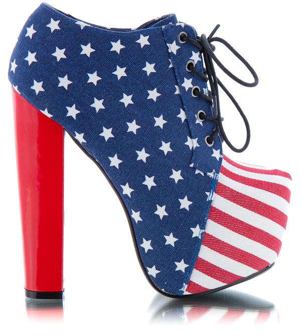 Модные Ботильоны 2012 с американским флагом.