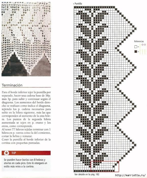 Винтажное вязание крючком. Много винтажных идей со схемами 10- Cortina con Picos-2 (580x700, 327Kb)