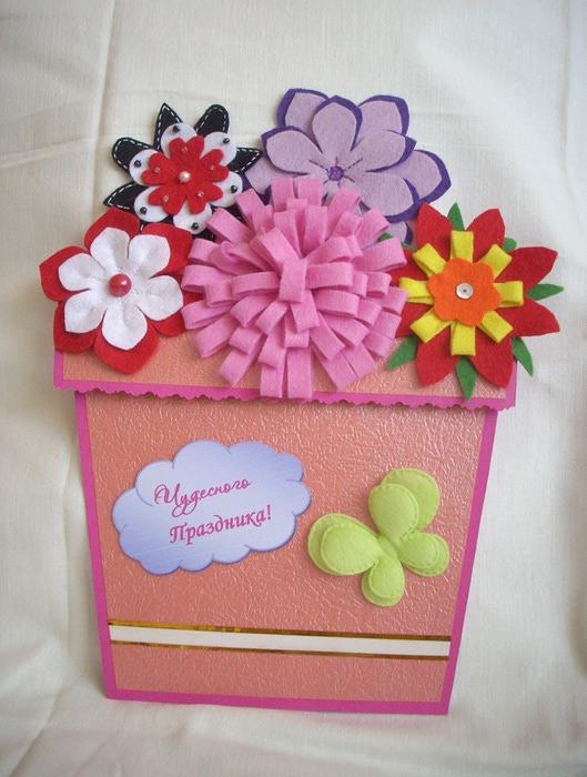 Днем рождения, цветы на открытку из фетра