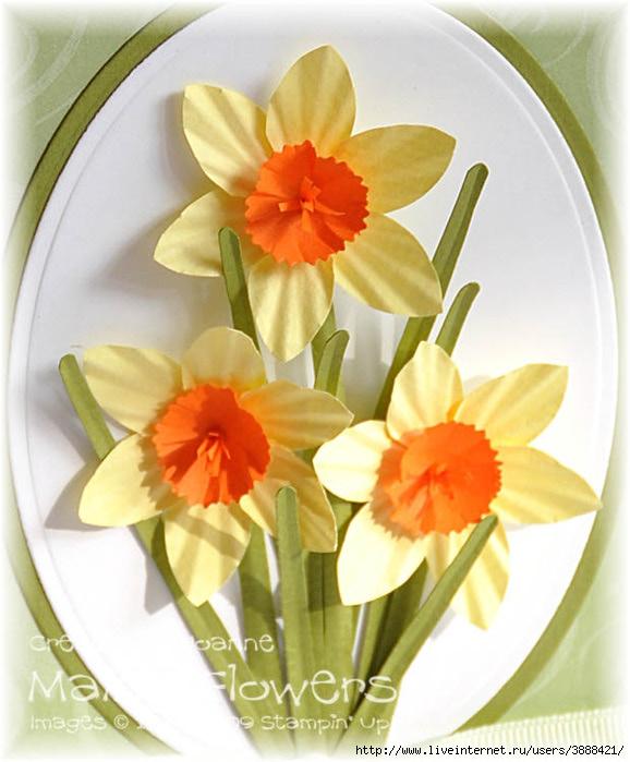Нарциссы - открытка для мамы своими руками на 8 марта, поделки из бумаги . Обсуждение на LiveInternet - Российский Сервис Онлайн