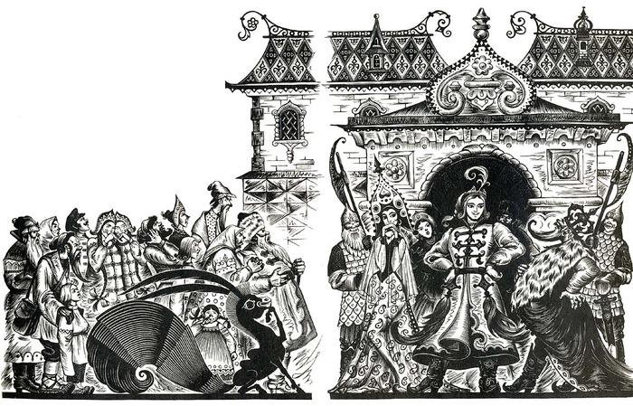 Например Сказки Пушкина с иллюстрациями похожими на небрежно раскрашенные гравюры, такими пятнами выходящие за...