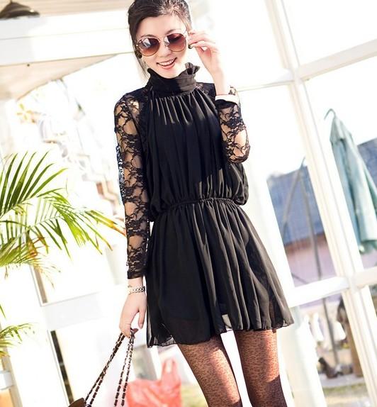 Шифоновое платье черное с длинным рукавом.
