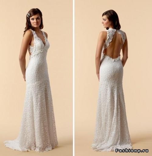 кружевные свадебные платья с открытой спиной.