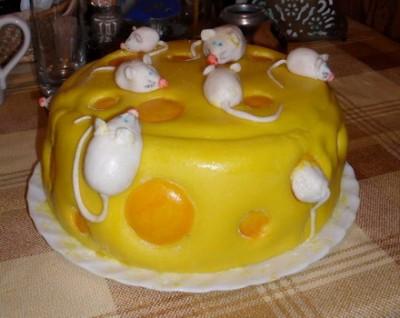 торт в виде сыра с мышками пошаговый рецепт