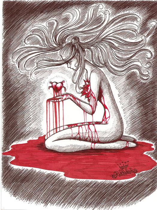 Картинка девушки с вырванным сердцем