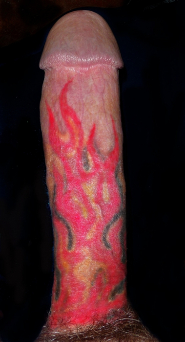 Female with tattoos of penis