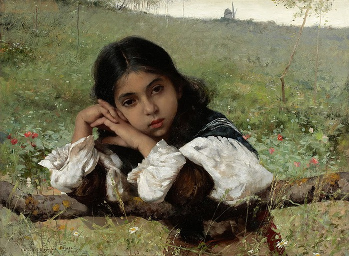 Moments of Thoughtfulness, by Charles Sprague Pearce (700x512, 151Kb)