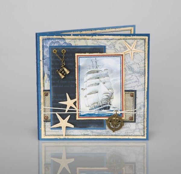 Скрапбукинг открытки с маяком, доброго