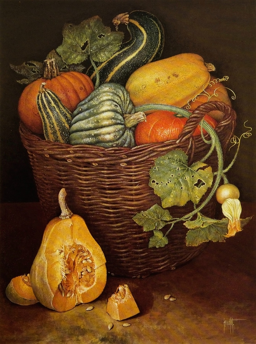 A HARVEST BASKET OF AQUASH81x61 cms Gouache1988 (521x700, 311Kb)