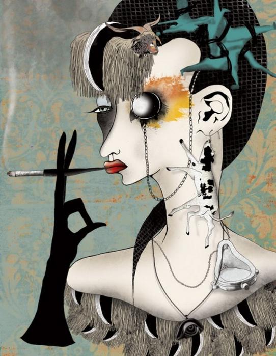 Красочные фэшн иллюстрации Linn Olofsdotter 23 (542x700, 390Kb)