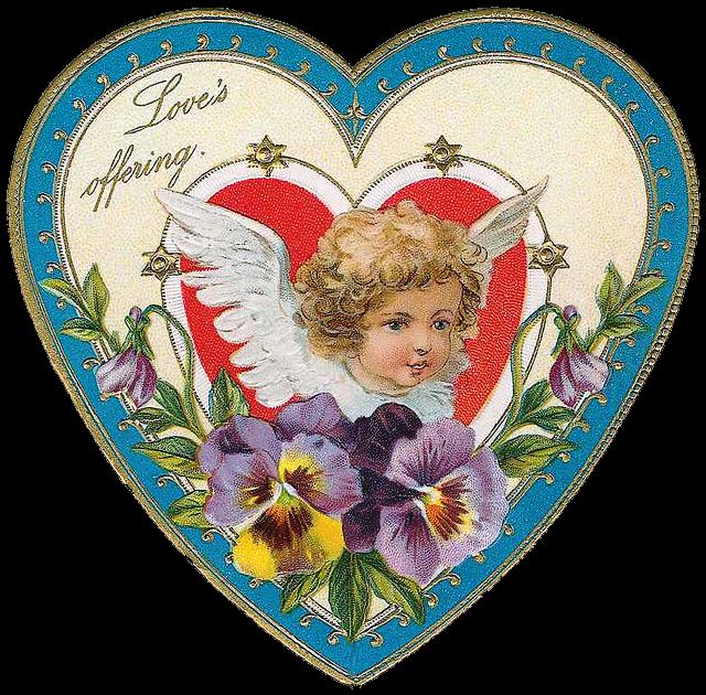 Новогодние открытки, винтажные сердечки картинки