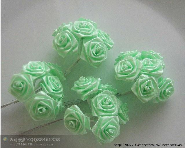 Маленькие цветочки из ленточки своими руками 349