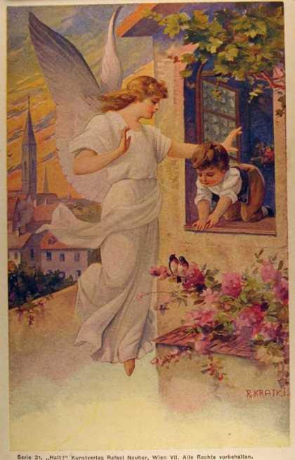 Ангел-хранитель старинная открытка, про насекомых