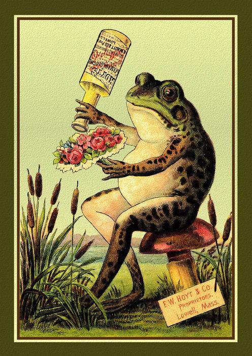 Винтажные открытки лягушки, бабушки