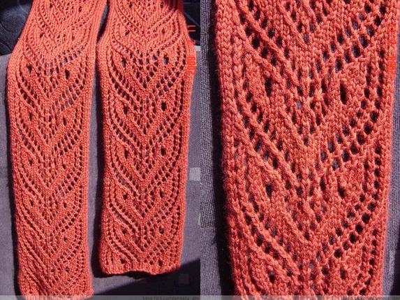 Двухсторонние ажурные шарфы спицами схемы с описанием