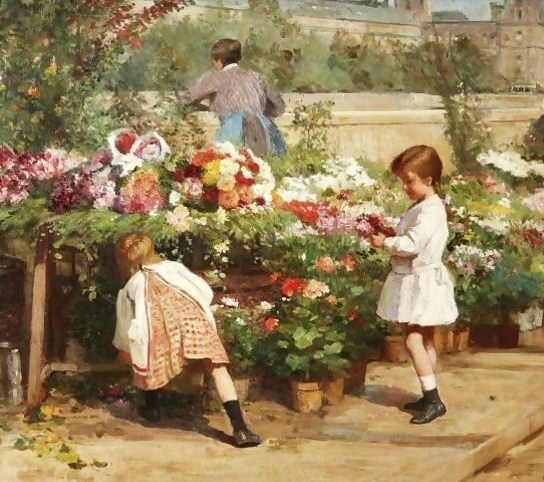 Victor-Gabriel Gilbert (French Academic Painter, 1847-1933) The Young Flower Seller (544x482, 92Kb)