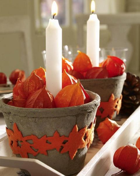 осенний декор свечей