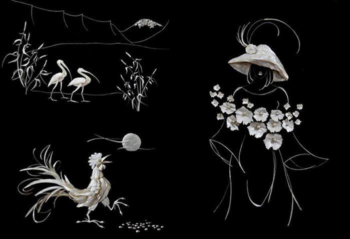 Картины-мозаики из рыбьих костей