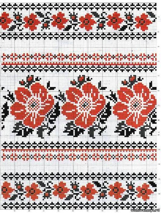 Вышивка крестом украинский рушник схемы вышивки 581