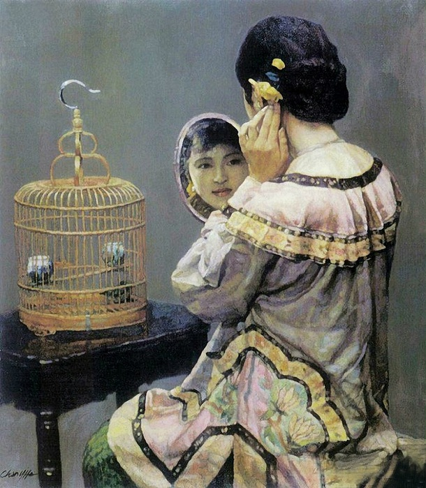 Chen Yifei - Woman with a mirror and a bird cage (1998) (610x700, 178Kb)