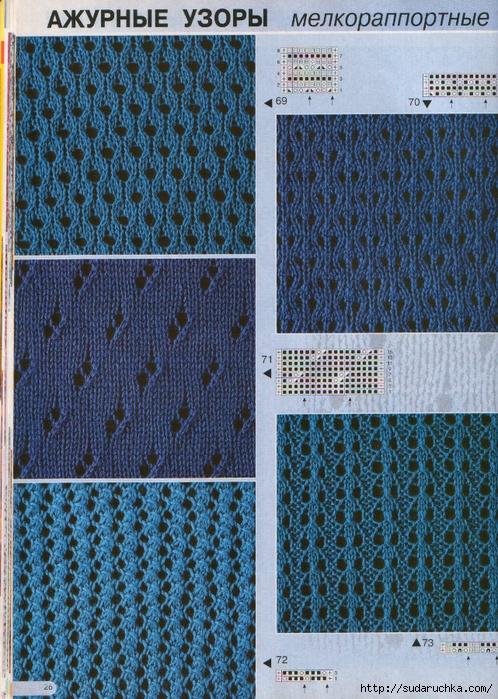 схемы ажурного узора вязания спицами