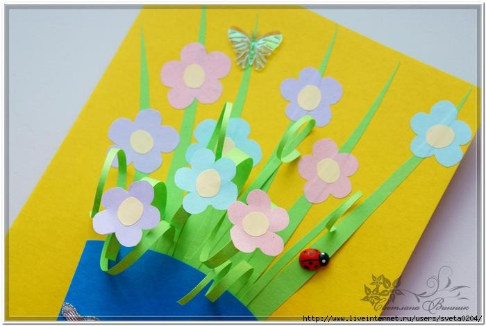 Открытка с цветами своими руками для бабушки с днем рождения, открытки