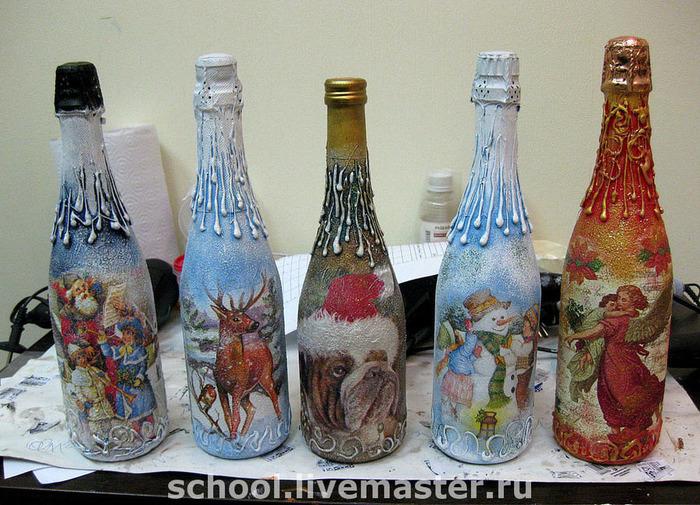 Декупаж на бутылке шампанского ко дню святого