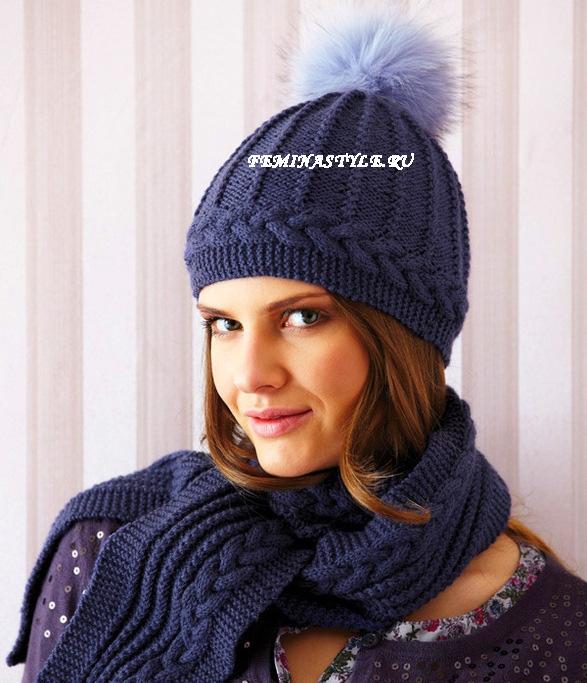 красивый узор спицами для шапки Clubsunriseru