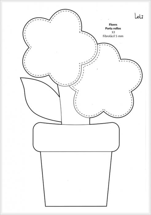 Шаблоны горшок с цветами, для подружки