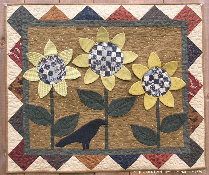 quilt_pattern_0140_27x32_Checkerboard_Sunflowers (700x586, 350Kb)