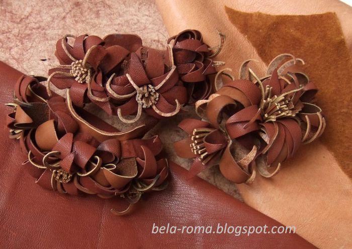 как сделать цветки из кожи бесплатно.