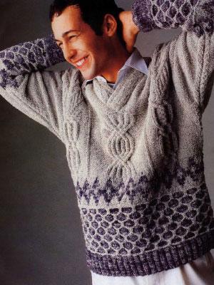 схема вязания мужского свитера на спицах.