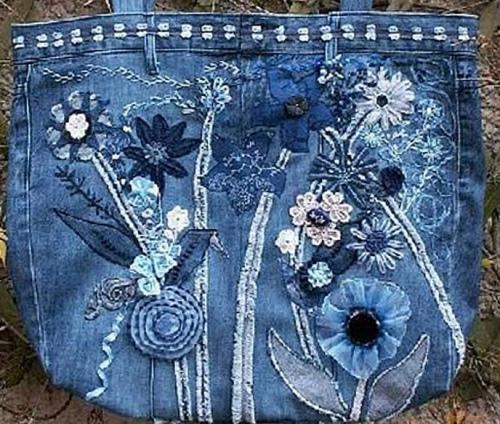 выкройки цветов из джинсы