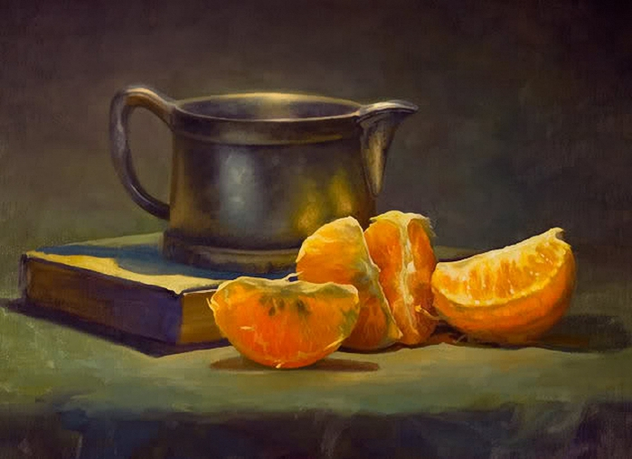 Susan Daly Voss, Orange Sections with Pewter (700x508, 204Kb)
