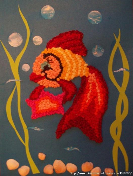Картинка из салфеток рыбка