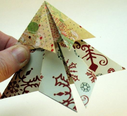 Елка оригами для открытки, открытка