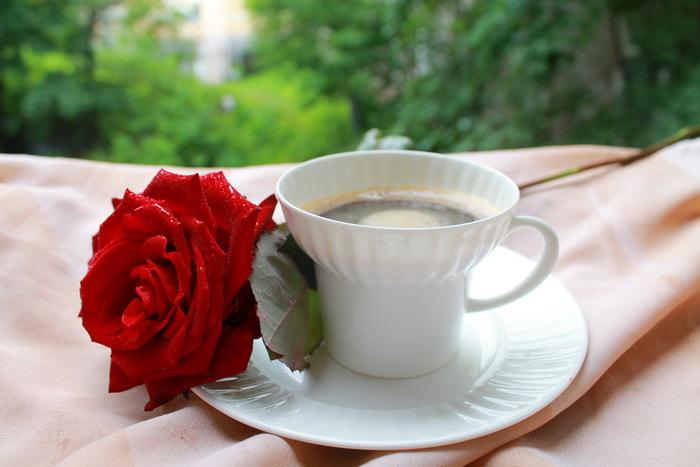 Днем, картинка с добрым утром розы и кофе