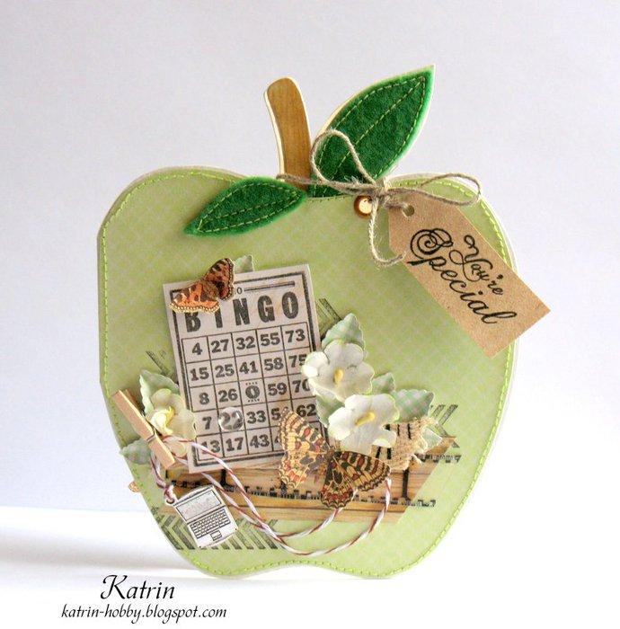 Мая, открытка яблоко