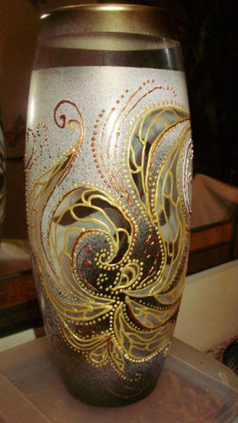 Роспись стеклянной вазы.Мастер класс.