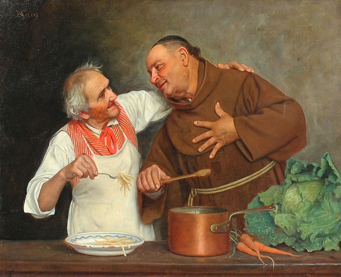 SANI, David, (Italian, 1828-1914) Monk and Chef in the Kitchen (700x568, 323Kb)