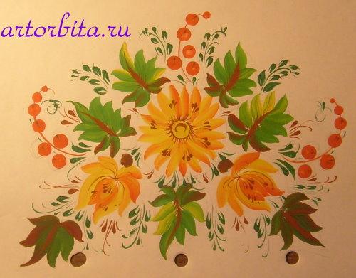 Композиция - рисунок - петриковская роспись - элементы и композиции - Artorbita.ru.