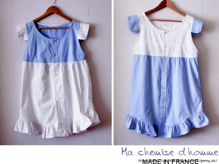 Из мужской рубашки сшить платье для девочки 763