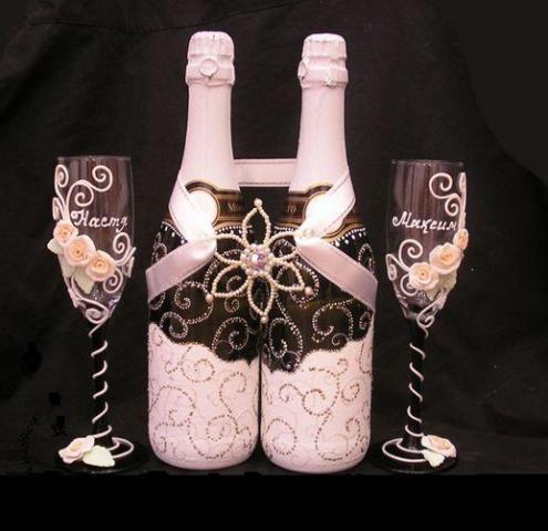 Украшения для шампанского своими руками - мастер-класс