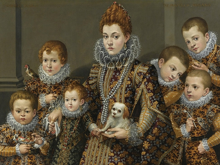 Lavinia Fontana(1552-1614)Portrait of Bianca Degli Utili Maselli with Six of Her Children c. 1603-1605,  (700x526, 353Kb)