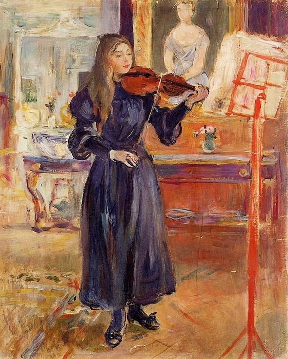 Studying the Violin (1892-1893). Berthe Morisot (French, Impressionism, 1841-1874). (562x700, 386Kb)
