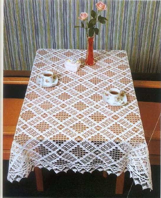 Прямоугольная скатерть вязание крючком