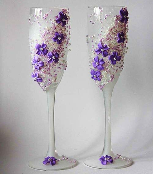 Как украсить бокалы к свадьбе. Очень интересно и много идей santa3
