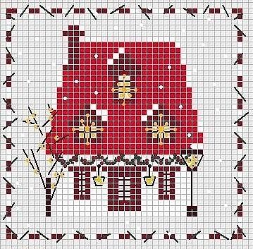 Маленькие схемы вышивки домика