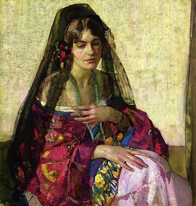 Richard E_ Miller.Black Mantilla, by (668x700, 452Kb)