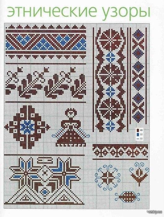 Рисунок для вышивки орнаментом 988